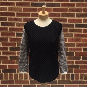 Trouve Black puffed Sweater with Zippered Back